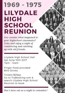 Lilydale High School Reunion flyer